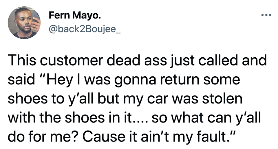customer asking to return shoes that don't exist
