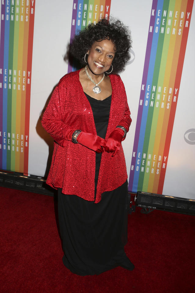 FILE - This Dec. 8, 2013 file photo shows Jessye Norman at the 2013 Kennedy Center Honors at the Kennedy Center for the Performing Arts in Washington. Norman died, Monday, Sept. 30, 2019, at Mount Sinai St. Luke's Hospital in New York. She was 74. (Photo by Greg Allen/Invision/AP, File)