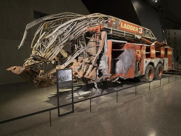 Mangled Fire truck indoors