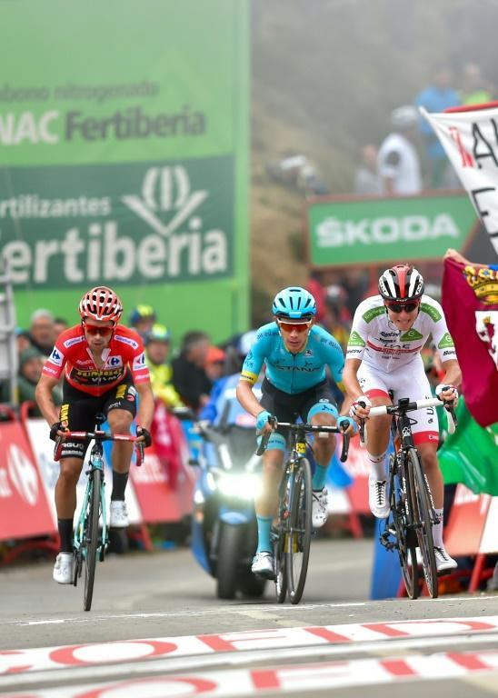 Pogacar, Lopez and Roglic crossed the lone together (AFP Photo/Ander GILLENEA)