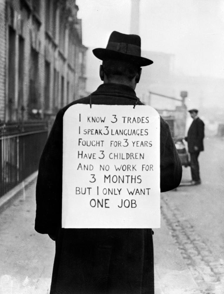 Solo demo … a man looking for work in the 1930s.
