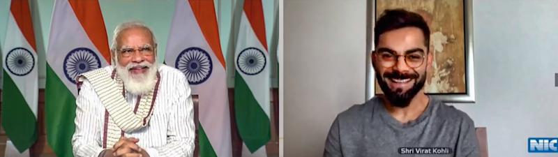 **EDS: SCREENSHOT FROM A VIDEO POSTED BY @narendramodi ON THURSDAY, SEPT. 24, 2020** New Delhi: Prime Minister Narendra Modi virtually interacts with Indian cricket team captain Virat Kohli during Fit India Dialogue on the first anniversary of Fit India Movement, in New Delhi. (PTI Photo)(PTI24-09-2020_000048B)