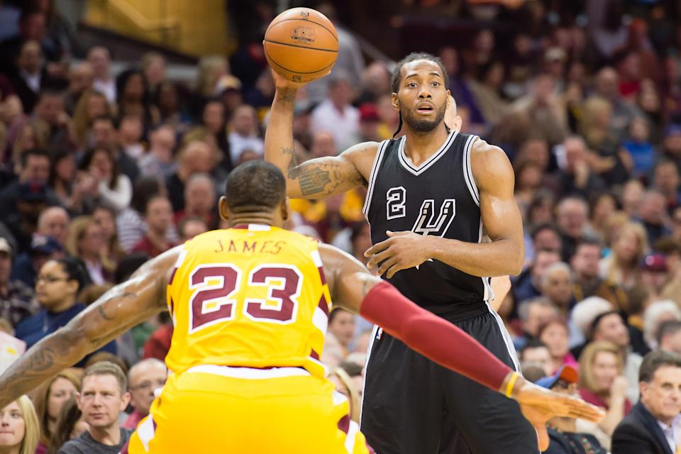 It appears Kawhi Leonard might fall more into the Kyrie Irving school of thought about playing with LeBron James. (AP Photo)