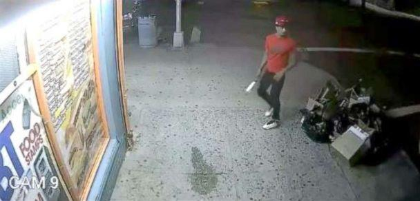 PHOTO: Police release a video surveillance showing a man in the red T-shirt as part of a group of men who allegedly hacked Lesandro Guzman-Feliz, 15, with a knife to death in the Bronx on June, 2018. (Chief Terence Monahan/NYPDChiefofDept)