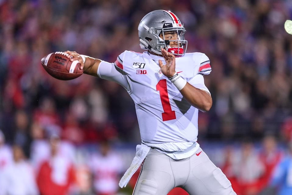 EVANSTON, IL - OCTOBER 18: Ohio State Buckeyes quarterback Justin Fields (1) passes the ball in the 1st quarter during a college football game between the Ohio State Buckeyes and the Northwestern Wildcats on October 18, 2019, at Ryan Field in Evanston, IL. (Photo by Daniel Bartel/Icon Sportswire via Getty Images)