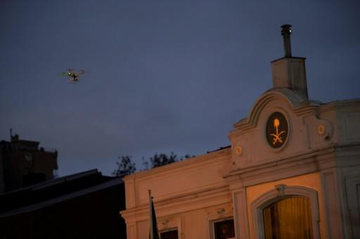 Turkish police fly a drone over the residence of Saudi Arabia's consul in Istanbul