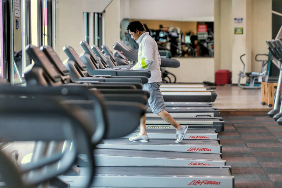 A man works out at the Enrich Fitness centre in Ampang February 12, 2021. — Picture by Ahmad Zamzahuri