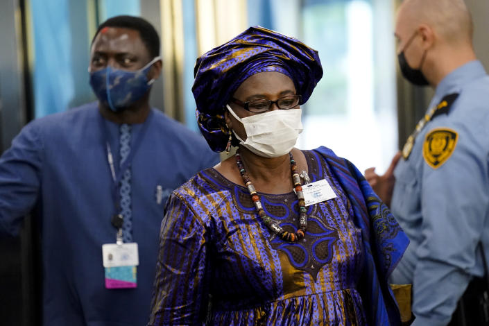 Isatou Touray, vice president of Gambia, arrives at United Nations headquarters, Tuesday, Sept. 21, 2021, during the 76th Session of the U.N. General Assembly in New York. (AP Photo/John Minchillo, Pool)