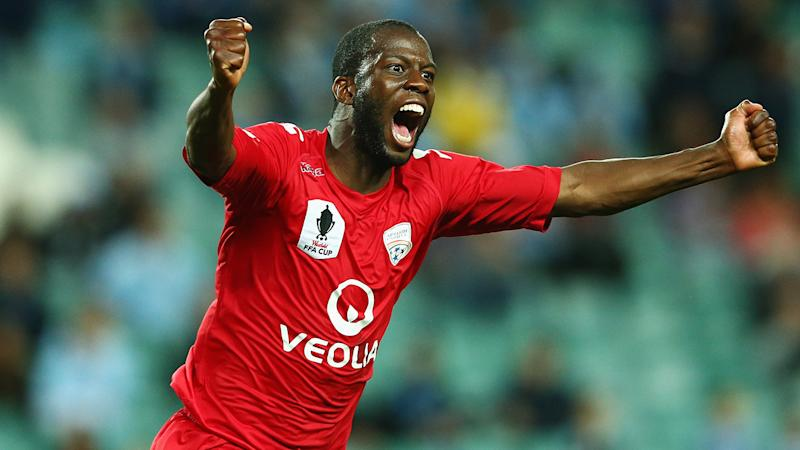 Bruce Djite, pictured here in action for Adelaide United in 2014.
