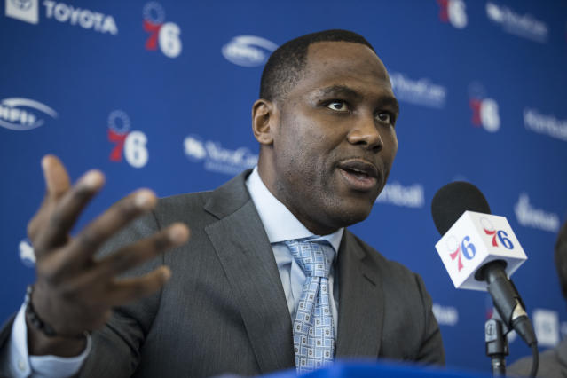 Philadelphia 76ers incoming general manager Elton Brand speaks at the NBA basketball team's practice facility in Camden, N.J., Thursday, Sept. 20, 2018. (AP Photo/Matt Rourke)