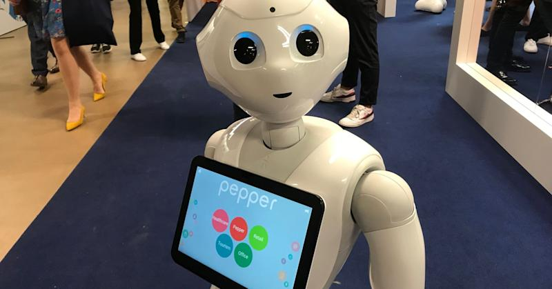 SoftBank's humanoid robot Pepper features at the Viva Technology conference in Paris.