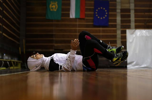 "Iranian volleyball player Zeinab Giveh relaxes after a training session of ""Shumen"" volleyball club in Shumen, Bulgaria January 14, 2017. Picture taken on January 14, 2017. REUTERS/Stoyan Nenov"