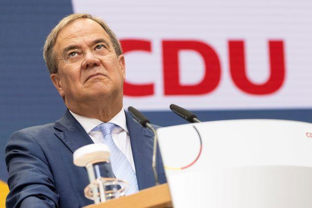 BERLIN, GERMANY - SEPTEMBER 27: Armin Laschet, chancellor candidate of the Christian Democrats (CDU/CSU) union, speaks at the press conference at CDU headquarters the day after federal elections on September 27, 2021 in Berlin, Germany. The CDU/CSU came in a close second behind the German Social Democrats (SPD), setting the stage for what will likely be arduous exploratory discussions and negotiations between the four leading parties over the next several months before the creation of a new coalition government. (Photo by Maja Hitij/Getty Images) (Photo: Maja Hitij via Getty Images)