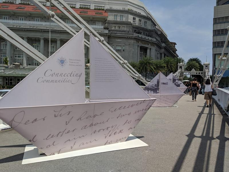 An installation at the Cavenagh Bridge as part of the NHB's inaugural Milestones Through Monuments programme on 15 October, 2019. (PHOTO: Yahoo News Singapore)