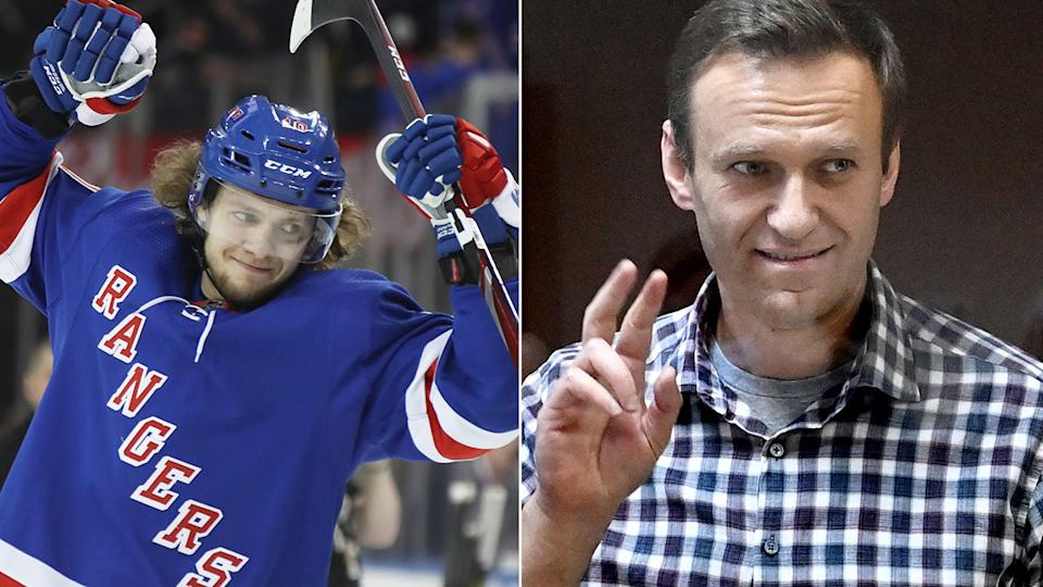 Seen here, Rangers star Artemi Panarin and imprisoned Russian opposition leader Alexei Navalny.