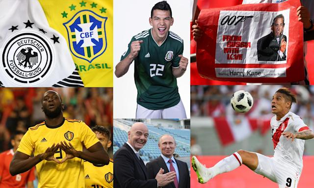 Clockwise from top left: a Germany v Brazil final? Hirving Lozano and Harry Kane to star? Paolo Guerrero is back; Vladimir Putin and Gianni Infantino are everywhere; and Romelu Lukaku.
