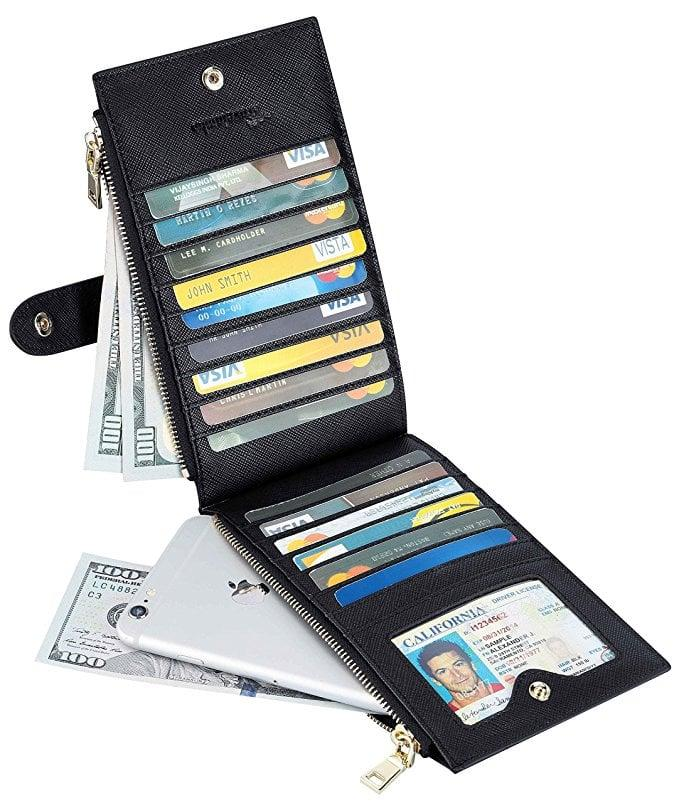 """<p>The <a href=""""https://www.popsugar.com/buy/Travelambo-RFID-Blocking-Bifold-Wallet-97461?p_name=Travelambo%20RFID%20Blocking%20Bifold%20Wallet&retailer=amazon.com&pid=97461&price=15&evar1=savvy%3Aus&evar9=46918129&evar98=https%3A%2F%2Fwww.popsugar.com%2Fhome%2Fphoto-gallery%2F46918129%2Fimage%2F46918184%2FTravelambo-RFID-Blocking-Bifold-Wallet&list1=shopping%2Ctravel%2Cgifts%2Camazon%2Choliday%2Cgift%20guide%2Ctravel%20goods&prop13=api&pdata=1"""" rel=""""nofollow"""" data-shoppable-link=""""1"""" target=""""_blank"""" class=""""ga-track"""" data-ga-category=""""Related"""" data-ga-label=""""https://www.amazon.com/Travelambo-Womens-Walllet-Blocking-Bifold/dp/B01N0NFRF0/ref=zg_bs_2474936011_3?_encoding=UTF8&amp;refRID=7P05W7MSXDRX8NS031HD&amp;th=1"""" data-ga-action=""""In-Line Links"""">Travelambo RFID Blocking Bifold Wallet</a> ($15) is currently one of the bestselling items on Amazon, and for good reason. It holds a ridiculous amount of stuff - the design includes 15 card slots, one ID slot, and two long zippered slots that will fit cash or even an iPhone. It also comes in 20 different colors.</p>"""