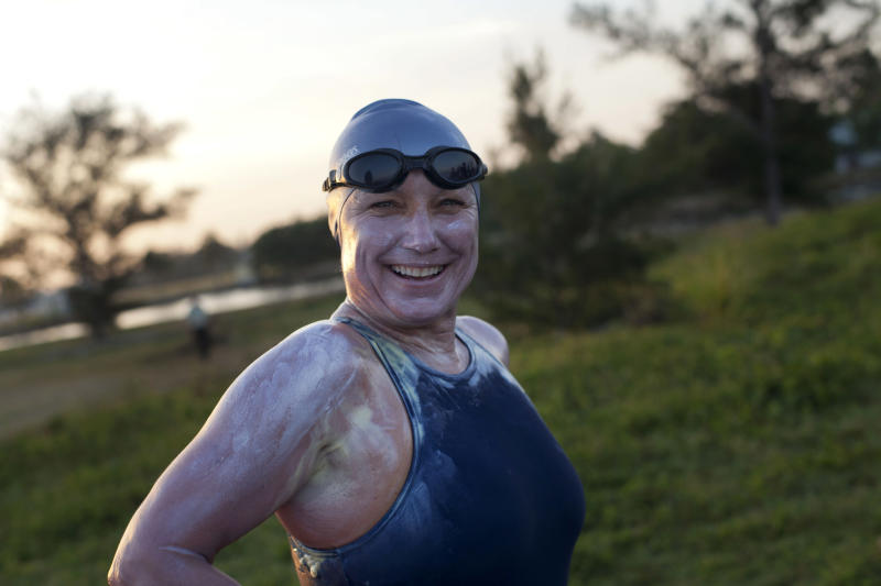 British-Australian swimmer Penny Palfrey, smiles before geginning her bid to complete a record swim from Cuba to Florida, in Havana, Cuba, Friday, June 29, 2012. Palfrey aims to be the first woman to swim the Straits of Florida without the aid of a shark cage. Instead she's relying on equipment that surrounds her with an electrical field to deter the predators.(AP Photo/Ramon Espinosa)