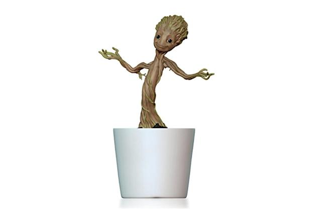 "<p>Baby Groot loves to dance, so press a button on this ornament and he'll be bopping and shimmying to music through the holiday season. <strong><a href=""https://www.amazon.com/Hallmark-Keepsake-Ornament-Guardians-Groovin/dp/B00WSR5UIK/ref=as_at/"" rel=""nofollow noopener"" target=""_blank"" data-ylk=""slk:Buy here"" class=""link rapid-noclick-resp"">Buy here</a></strong> </p>"