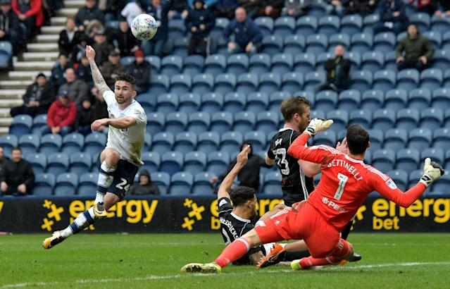 "Soccer Football - Championship - Preston North End vs Fulham - Deepdale, Preston, Britain - March 10, 2018 Preston's Sean Maguire shoots wide Action Images/Paul Burrows EDITORIAL USE ONLY. No use with unauthorized audio, video, data, fixture lists, club/league logos or ""live"" services. Online in-match use limited to 75 images, no video emulation. No use in betting, games or single club/league/player publications. Please contact your account representative for further details."
