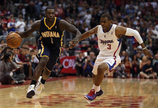 LOS ANGELES, CA - APRIL 01: Lance Stephenson #1 of the Indiana Pacers drives down the court while being pursued by Chris Paul #3 of the Los Angeles Clippers in the second half at Staples Center on April 1, 2013 in Los Angeles, California. The Pacers defeated the Clippers 109-106. NOTE TO USER: User expressly acknowledges and agrees that, by downloading and or using this photograph, User is consenting to the terms and conditions of the Getty Images License Agreement. (Photo by Jeff Gross/Getty Images)