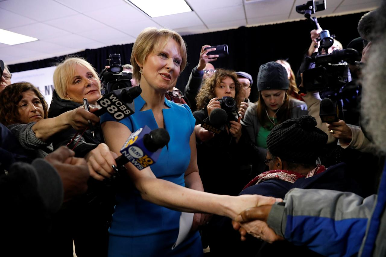 Actress Cynthia Nixon shakes hands at campaign stop after announcing that she is running for Governor of New York in Brooklyn, New York, U.S., March 20, 2018. REUTERS/Shannon Stapleton