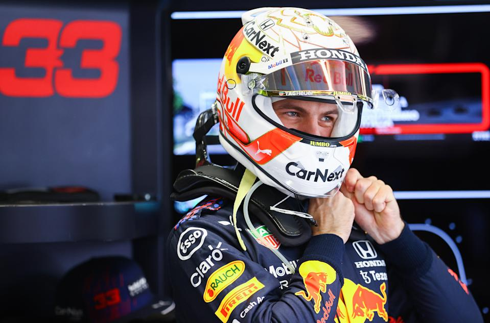 MONZA, ITALY - SEPTEMBER 12: Max Verstappen of Netherlands and Red Bull Racing prepares to drive in the garage before the F1 Grand Prix of Italy at Autodromo di Monza on September 12, 2021 in Monza, Italy. (Photo by Bryn Lennon/Getty Images)