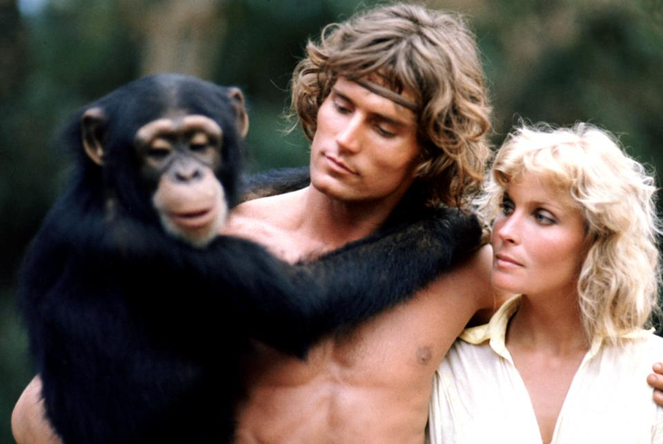 O'Keefe and Derek with a chimp co-star in 'Tarzan, the Ape Man' (Photo: MGM/Courtesy Everett Collection)