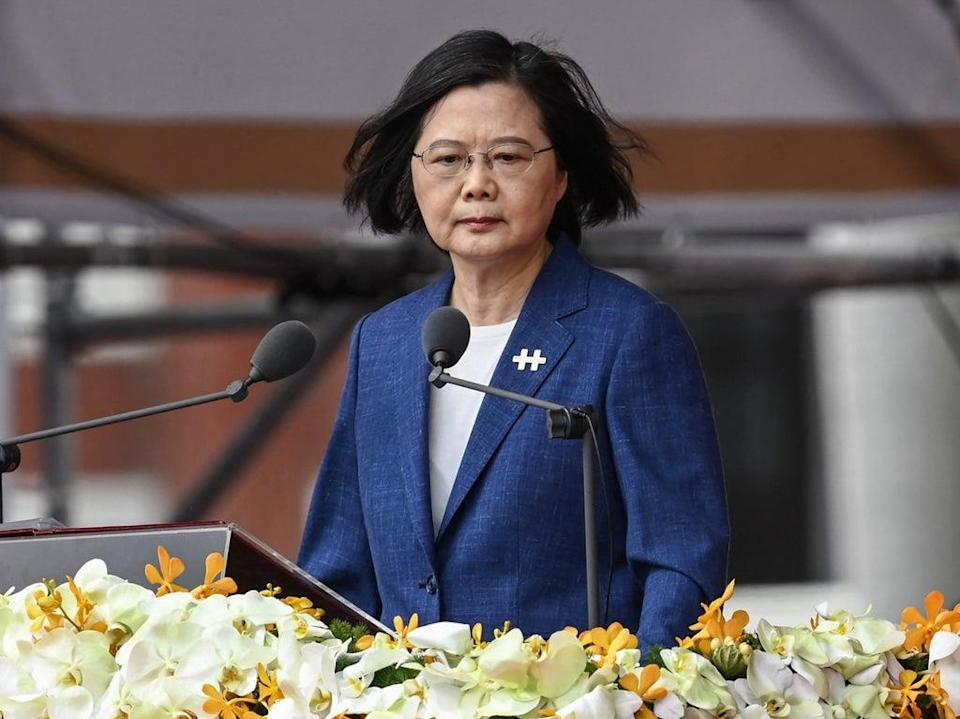 Taiwan's President Tsai Ing-wen speaks during National Day celebrations in front of the presidential palace in Taipei (Sam Yeh/AFP via Getty Images)