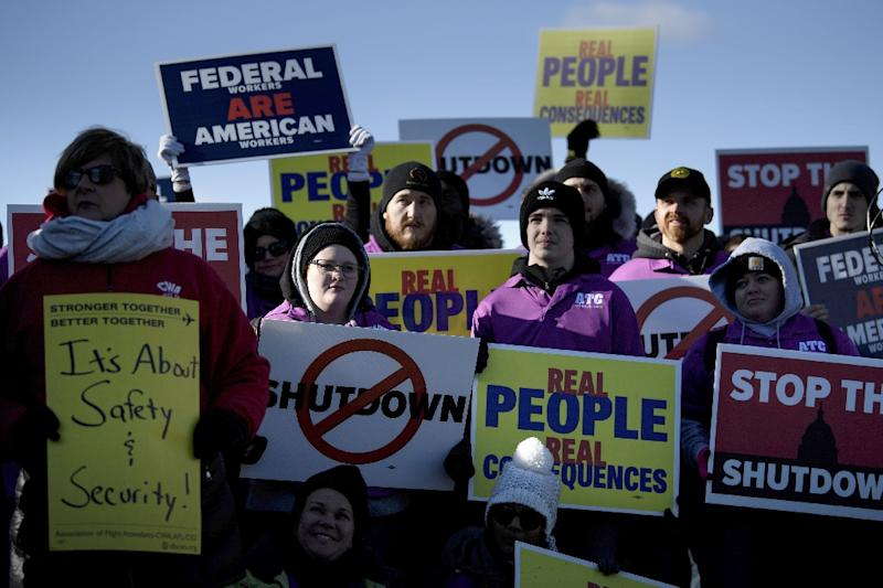 """This is a matter of safety, security, and economic concern,"" said the Association of Flight Attendants, which held a protest in the capital Washington on Thursday along with other aviation sector unions to demand the resumption of normal services (AFP Photo/Brendan Smialowski)"