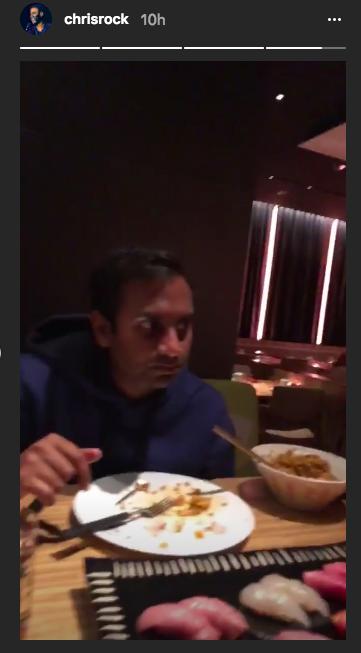 After the game, Aziz Ansari went out to eat with Chris Rock. (Image: Chris Rock via Instagram)