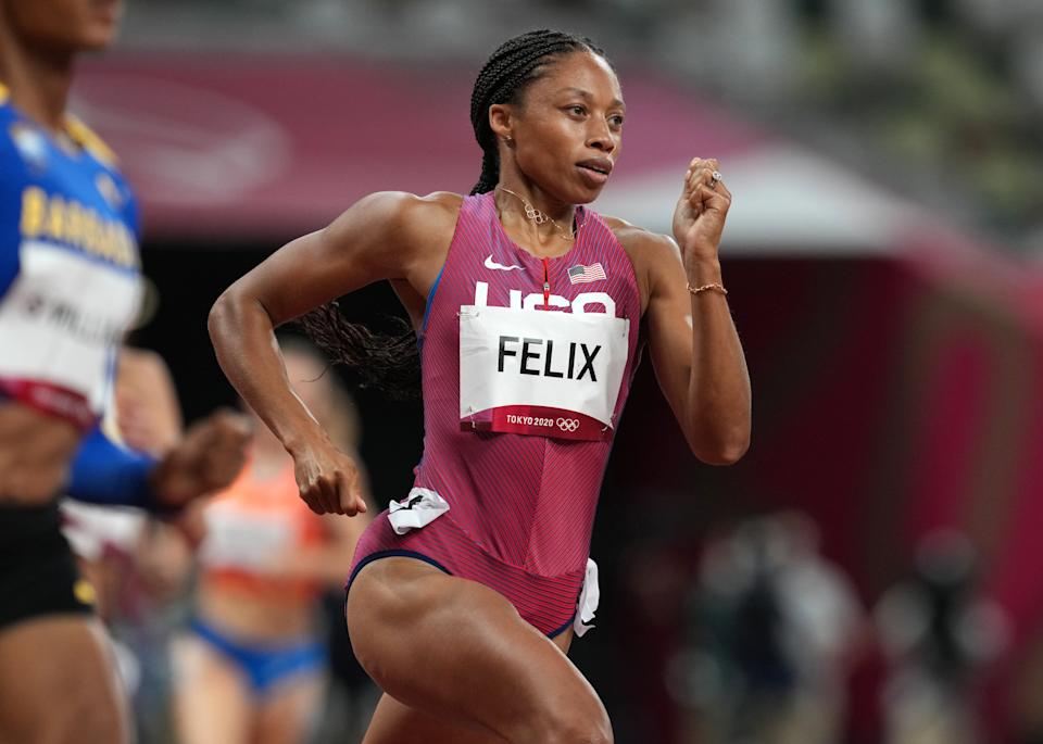 USA's Allyson Felix in the Women's 400m Semifinal at the Olympic Stadium on the twelfth day of the Tokyo 2020 Olympic Games in Japan. Picture date: Wednesday August 4, 2021. (Photo by Martin Rickett/PA Images via Getty Images)