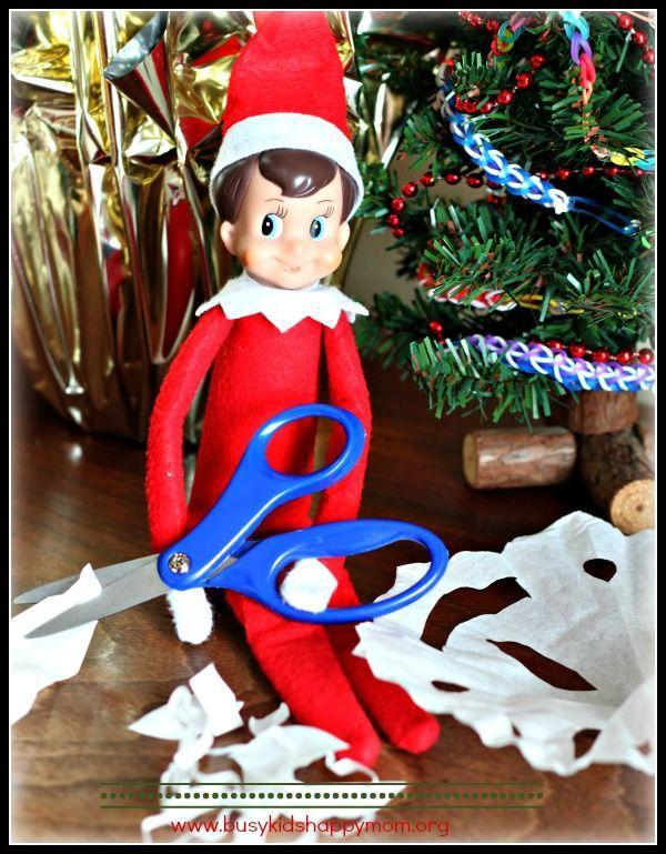 """<p>It's not all fun and games when you're an Elf. Sometimes, they've got to take a break to do important tasks—like making paper snowflakes. </p><p><strong>Get the tutorial at <a href=""""https://www.busykidshappymom.org/meet-our-elf-franklin/"""" rel=""""nofollow noopener"""" target=""""_blank"""" data-ylk=""""slk:Busy Kids Happy Mom"""" class=""""link rapid-noclick-resp"""">Busy Kids Happy Mom</a>.</strong></p><p><strong><a class=""""link rapid-noclick-resp"""" href=""""https://www.amazon.com/Continuous-Feed-Computer-Paper/b?ie=UTF8&node=1069710&tag=syn-yahoo-20&ascsubtag=%5Bartid%7C10050.g.22690552%5Bsrc%7Cyahoo-us"""" rel=""""nofollow noopener"""" target=""""_blank"""" data-ylk=""""slk:SHOP COMPUTER PAPER"""">SHOP COMPUTER PAPER</a><br></strong></p>"""