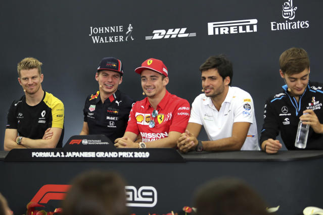 From left, Renault driver Nico Hulkenberg of Germany, Red Bull driver Max Verstappen of the Netherlands, Ferrari driver Charles Leclerc of Monaco, Racing Point driver Sergio Perez of Mexico and Williams driver George Russell of Britain attend a press conference for the Japanese Formula One Grand Prix at Suzuka Circuit in Suzuka, Thursday, Oct. 10, 2019. (AP Photo/Toru Takahashi)