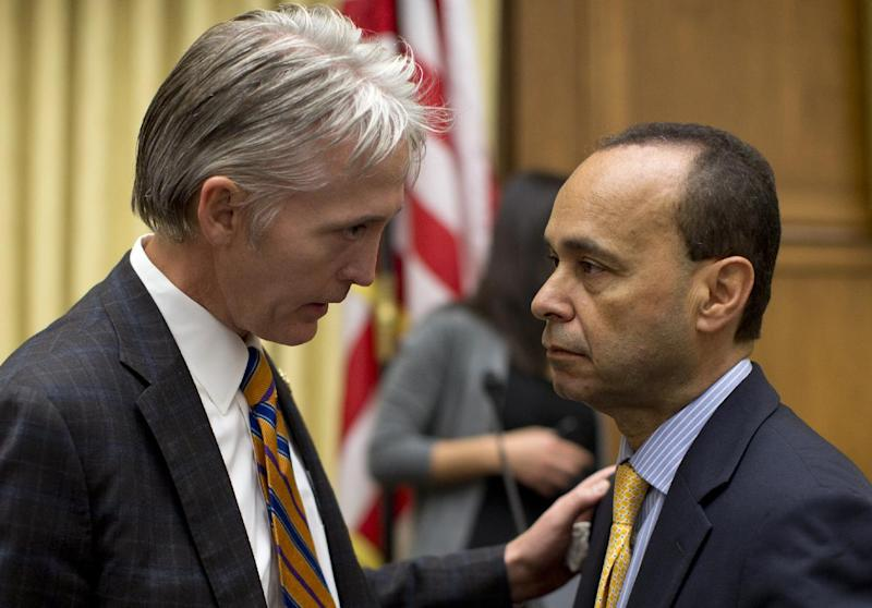 House Judiciary Committee members Rep. Trey Gowdy, R-S.C., sponsor of the Strengthen and Fortify Enforcement Act, left, talks with Rep. Luis Gutierrez, D-Ill., on Capitol Hill in Washington, Tuesday, June 18, 2013, prior to the start of the committee's hearing to discuss the Strengthen and Fortify Enforcement Act. The committee in the Republican-led House is preparing to cast its first votes on immigration this year, on a tough enforcement-focused measure that Democrats and immigrant groups are protesting loudly. (AP Photo/Carolyn Kaster)