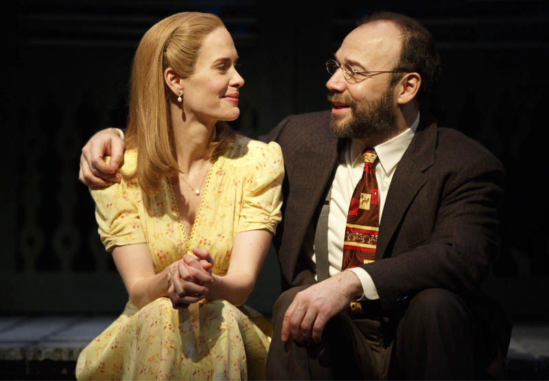 "This theater image released by Polk & Co. shows Sarah Paulson, left, and Danny Burstein during a performance of Lanford Wilson's Pulitzer Prize-winning ""Talley's Folly,"" in New York. Set on the 4th of July near the end of World War II, ""Talley's Folly"" is the story of an unlikely middle-age romance between two people trying to overcome their emotional baggage and find love. (AP Photo/Polk & Co., Joan Marcus)"