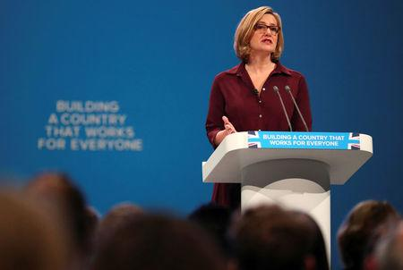 Britain's Home Secretary Amber Rudd speaks at the Conservative Party conference in Manchester, October 3, 2017. REUTERS/Hannah McKay