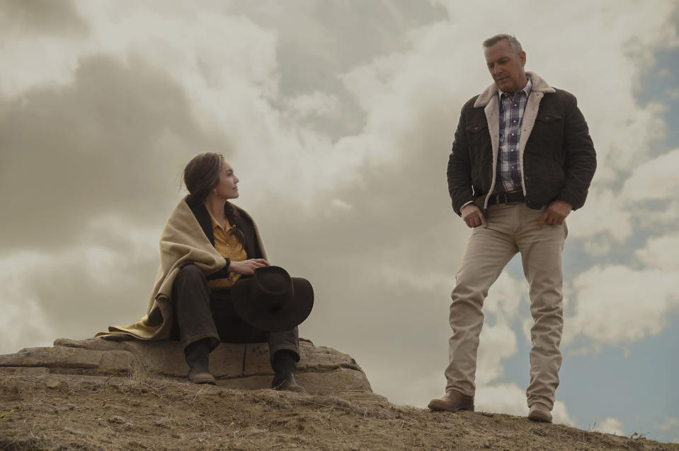 "In this image released by Focus Features, Diane Lane, left, and Kevin Costner appear in a scene from ""Let Him Go."" (Kimberley French/Focus Features via AP)"