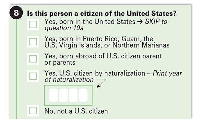 U.S. census form.