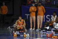 Tennessee forward E.J. Anosike (55) sits on the bench in the final moments of the team's NCAA college basketball game against Florida on Tuesday, Jan. 19. 2021, in Gainesville, Fla. (AP Photo/Matt Stamey)