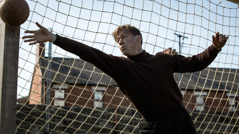 David Kross as legendary goalkeeper Bert Trautmann in biopic 'The Keeper'. (Credit: Parkland)