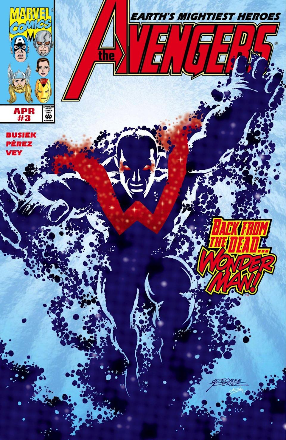 Wonder Man charging the fourth wall on the cover of an Avengers comic.