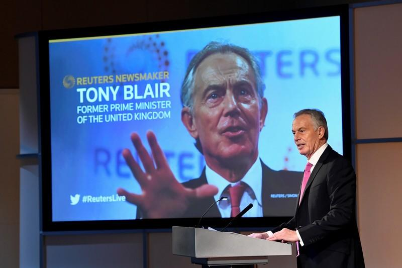 Former British PM Blair speaks at a Reuters Newsmaker event in London