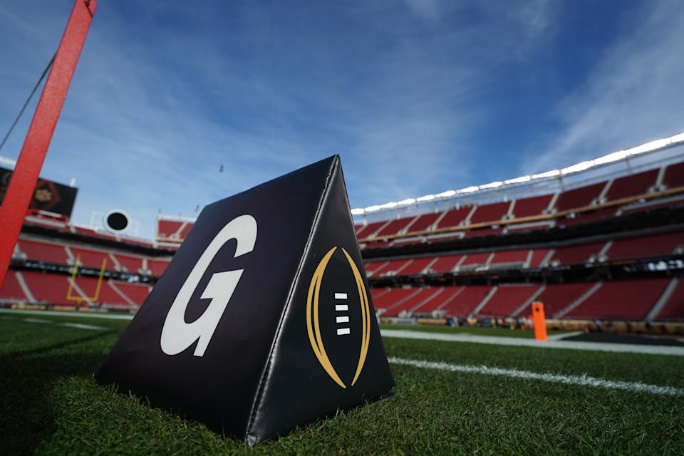 A goal line pylon is shown prior to the start of the 2019 College Football Playoff title game between Alabama and Clemson at Levi's Stadium in Santa Clara, CA. (Robin Alam/Icon Sportswire via Getty Images)