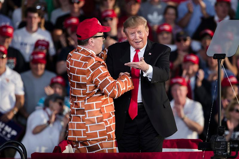 President Donald Trump, right, brings Blake Marnell on stage during a campaign rally in Montoursville, Pa., Monday, May 20, 2019.