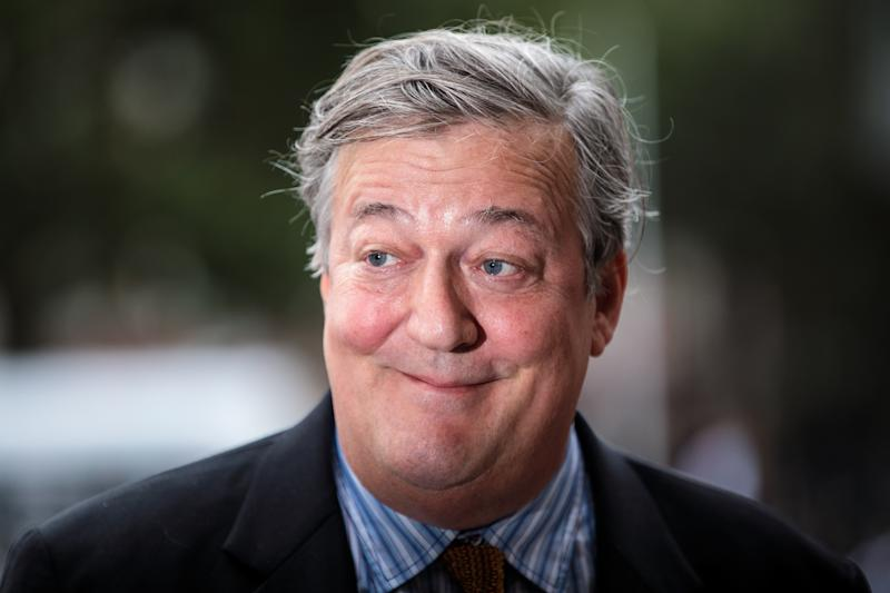 LONDON, ENGLAND - SEPTEMBER 11: British actor and comedian Stephen Fry arrives at Westminster Abbey for a memorial service for theatre great Sir Peter Hall OBE on September 11, 2018 in London, England. Sir Peter Hall was the former director of the National Theatre and founder of the Royal Shakespeare Company. He died on September 11, 2017 aged 86. (Photo by Jack Taylor/Getty Images)