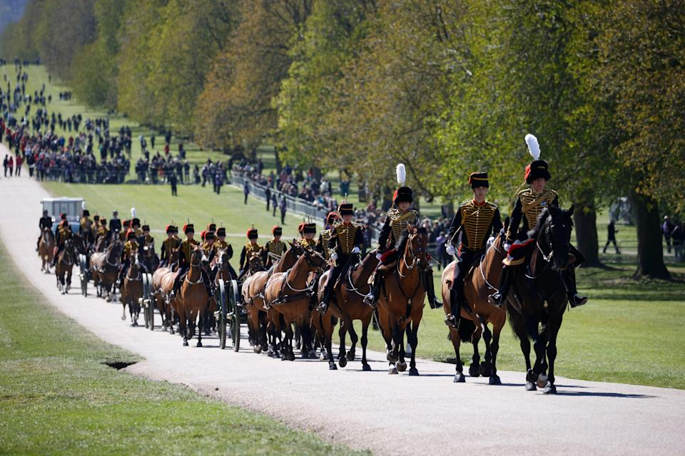 Officers of The Kings Troop Royal Horse Artillery arrive for the Gun Salute for the funeral of Britains Prince Philip at Windsor Castle in Windsor.