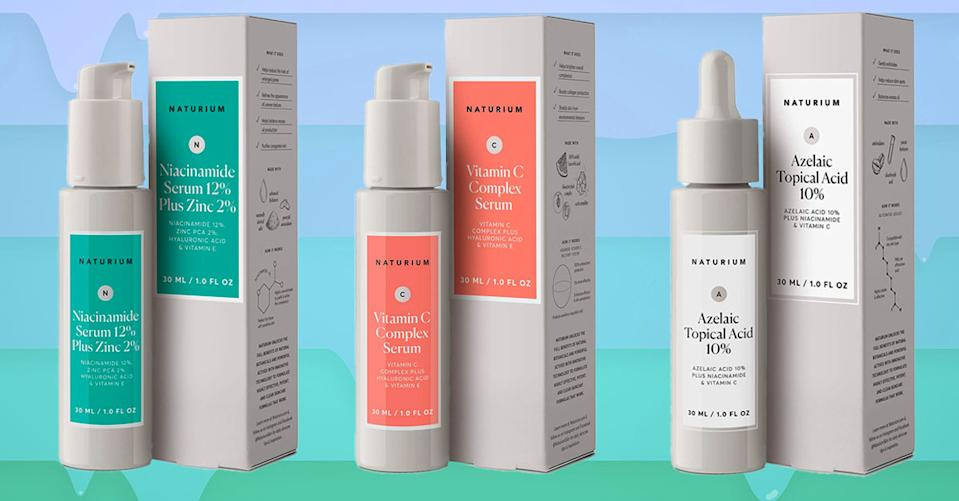 Naturium skin serums containing vitamin C, hyaluronic acid and more superstars are on sale today! (Photo: Amazon/Getty)