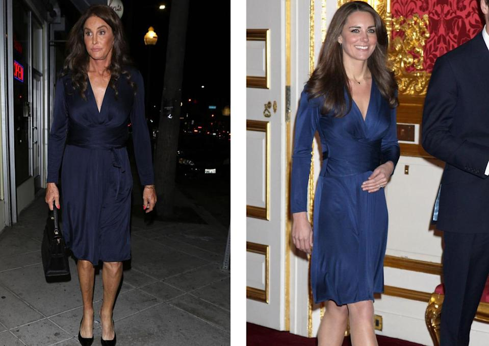 <p>Caitlyn hit headlines when she was spotted out in LA wearing the very same Issa London dress that the Duchess of Cambridge announced her engagement in back in 2010. <i>[Photo: GSM-KSI/Getty]</i></p>