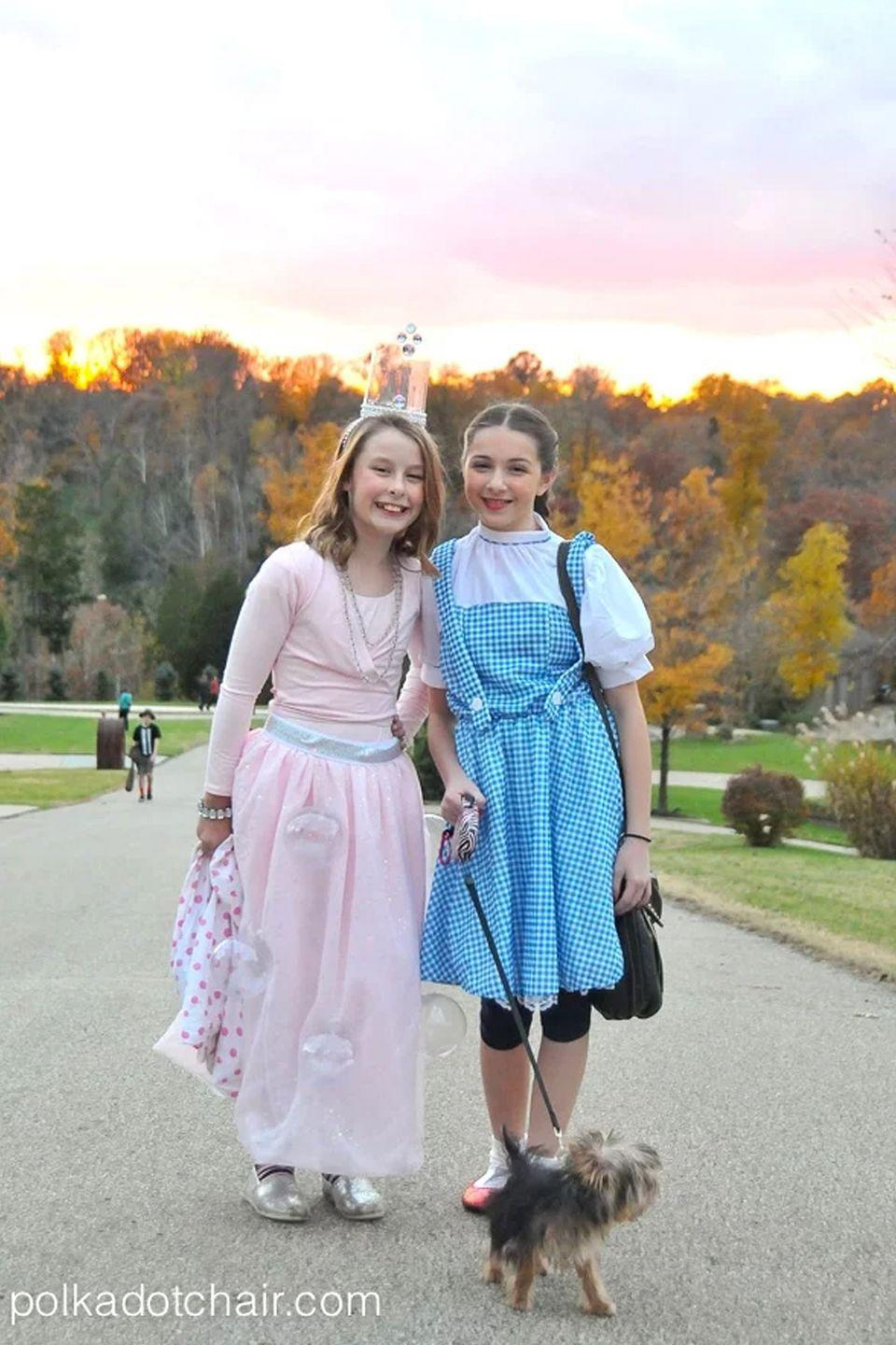"""<p>The Wicked Witch of the West doesn't get to go trick-or-treating this year. Glinda, the Good Witch of the South, buddies up with Dorothy (and Toto!) in this sweet DIY costume. </p><p><em><a href=""""https://www.polkadotchair.com/diy-glinda-costume/"""" rel=""""nofollow noopener"""" target=""""_blank"""" data-ylk=""""slk:Get the tutorial at Polkadot Chair >>"""" class=""""link rapid-noclick-resp"""">Get the tutorial at Polkadot Chair >></a><br></em></p><p><strong>RELATED: </strong><a href=""""https://www.goodhousekeeping.com/holidays/halloween-ideas/g1709/homemade-halloween-costumes/"""" rel=""""nofollow noopener"""" target=""""_blank"""" data-ylk=""""slk:Easy Homemade Halloween Costumes for Adults, Kids, and Everyone in Between"""" class=""""link rapid-noclick-resp"""">Easy Homemade Halloween Costumes for Adults, Kids, and Everyone in Between</a><br></p>"""